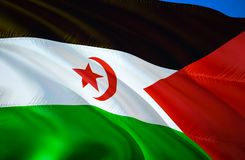 Bandeira de Western Sahara projeto de ondulação da bandeira 3D O símbolo nacional de Sara Ocidental, rendição 3D Cores nacionais  ilustração stock