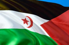 Bandeira de Western Sahara projeto de ondulação da bandeira 3D O símbolo nacional de Sara Ocidental, rendição 3D Cores nacionais  ilustração do vetor