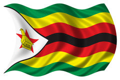 A bandeira de Zimbabwe isolou-se Fotografia de Stock Royalty Free
