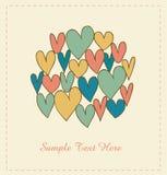 Bandeira decorativa do amor com corações no círculo. Rabiscar elementos para scrapbooking, presentes, artes, ofícios, cópias ilustração do vetor