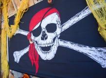 Bandeira decorativa do crânio e do osso da cruz. Imagens de Stock