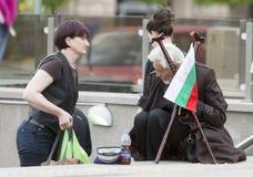 Bandeira desabrigada de Bulgarian do mendigo Fotos de Stock