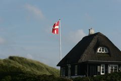 Bandeira dinamarquesa Foto de Stock Royalty Free