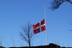 Bandeira dinamarquesa que balança na metade Imagens de Stock