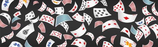 Bandeira dispersada cartão do pôquer Imagem de Stock