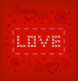 Bandeira do amor. Estilo escandinavo wi feitos malha do teste padrão ilustração do vetor