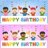 Bandeira do aniversário com miúdos ilustração stock