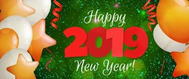 Bandeira 2019 do ano novo feliz Ilustração Royalty Free
