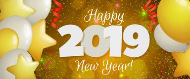 Bandeira 2019 do ano novo feliz Ilustração Stock