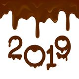 A bandeira 2019 do ano novo feliz com chocolate goteja ilustração do vetor