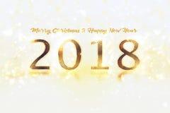 Bandeira do ano novo feliz com 2018 números no fundo brilhante imagem de stock royalty free