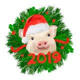 Bandeira do ano novo feliz, 2019 símbolo animal, ano novo feliz do texto ilustração stock
