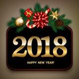 A bandeira do ano novo feliz do vintage com abeto ramifica, curva do cetim, cand Foto de Stock Royalty Free
