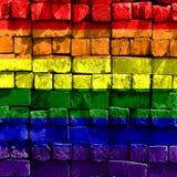 Bandeira do arco-íris da parede de tijolo ilustração royalty free