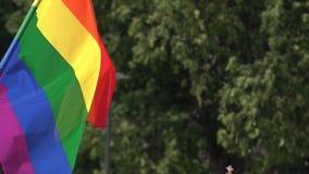 Bandeira do arco-íris que apoia a comunidade de LGBT no evento da parada alegre Bandeira colorida na multidão durante a celebraçã video estoque