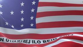 Bandeira do atol de biquini que acena no mastro de bandeira no vento, símbolo nacional da liberdade ilustração do vetor
