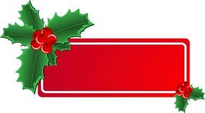 Bandeira do azevinho do Natal Fotografia de Stock Royalty Free