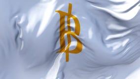 323 Bandeira do baht tailandês que acena no fundo sem emenda contínuo do laço do vento