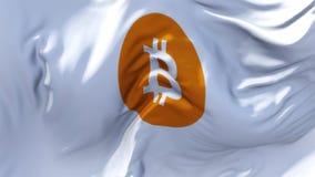 311 bandeira do bitcoin que acena no fundo sem emenda contínuo do laço do vento