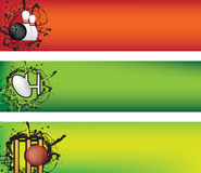 Bandeira do bowling, do rugby e do grilo ilustração royalty free