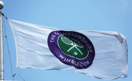 A bandeira do campeonato de Wimbledon em Billie Jean King National Tennis Center durante o US Open 2013 Imagem de Stock Royalty Free