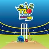 Bandeira do campeonato do mundo do grilo t20 Fotografia de Stock Royalty Free