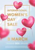 Bandeira do cartaz da venda do dia do ` s das mulheres de balões vermelhos do coração no brilho claro no fundo azul Texto da vend ilustração royalty free