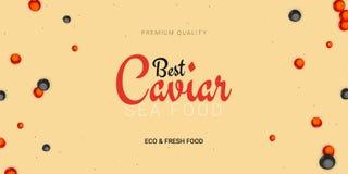 Bandeira do caviar Fundo delicioso do marisco Ilustração do vetor do caviar Alimento luxuoso natural e saudável Projeto para ilustração do vetor