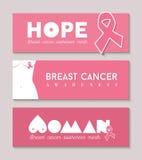 Bandeira do câncer da mama ajustada com a silhueta do corpo da menina Imagem de Stock Royalty Free