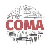 Bandeira do coma Cama de hospital Linha ícones de Infographic Vetor ilustração stock