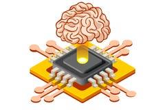 Bandeira do conceito da aprendizagem de máquina da inteligência artificial ilustração do vetor