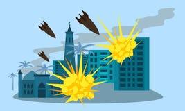 Bandeira do conceito da bomba da cidade da guerra, estilo liso ilustração stock