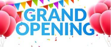 Bandeira do convite do evento de grande inauguração com balões e confetes Projeto do molde do cartaz da grande inauguração