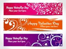 Bandeira do coração de três Valentim ilustração stock