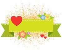 Bandeira do coração do Valentim Fotos de Stock Royalty Free