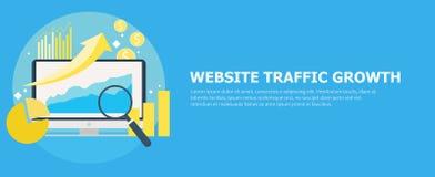 Bandeira do crescimento de tráfego do Web site Computador com diagramas, cartas de crescimento Ilustração do vetor Imagem de Stock Royalty Free