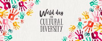 Bandeira do dia da diversidade cultural das mãos humanas da cor ilustração stock