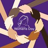 Bandeira do dia das mulheres internacionais com mão da posse da mão da mulher em torno do quadro do círculo e sinal da mulher no  ilustração do vetor