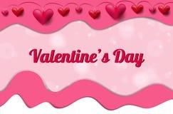 Bandeira do dia de Valentim com corações e efeito do corte do papel ilustração stock