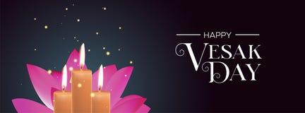 Bandeira do dia de Vesak das velas e da flor de lótus cor-de-rosa ilustração do vetor