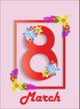 Bandeira do dia feliz das mulheres s do 8 de março no quadro com projeto de papel floral do estilo no fundo cor-de-rosa Ilustraçã Fotografia de Stock