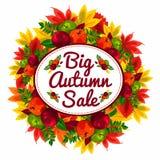 Bandeira do disconto do outono com as folhas e as maçãs bonitas da queda VENDA do outono Fotos de Stock Royalty Free