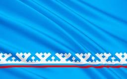 Bandeira do distrito autônomo de Yamalo-Nenets, Federação Russa ilustração royalty free