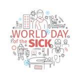 Bandeira do doente do dia do mundo Linha ícones ajustados Sinais do vetor ilustração royalty free