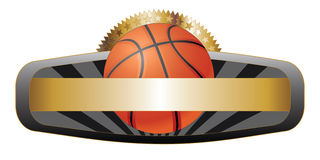 Bandeira do emblema do projeto do basquetebol Fotos de Stock Royalty Free