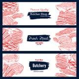 Bandeira do esboço da carne fresca para o projeto da loja do açougue Imagens de Stock Royalty Free