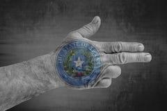 A bandeira do estado de E.U. de Texas Seal pintou na mão masculina como uma arma imagem de stock royalty free