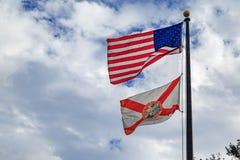 Bandeira do estado de Florida com bandeira americana fotos de stock royalty free