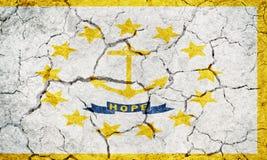 Bandeira do estado de Rhode - plantações da ilha e do providência imagens de stock royalty free