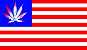 Bandeira do Estados Unidos com a folha da marijuana da laço-tintura ilustração do vetor